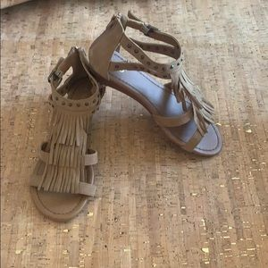 Cato Tan Moccasin Sandal w/Accents, Size 9